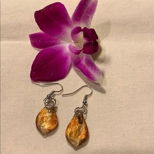 NEW Bronze colored glass teardrop earrings.